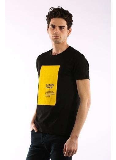 Rodrigo 3738 Baskili O Yaka Erkek Tshirt Siyah